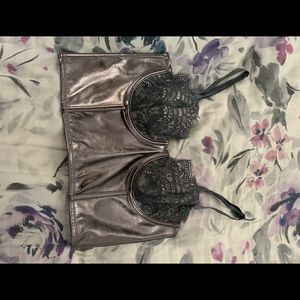 Victoria's Secret silver/lacy corset/bustier/bra